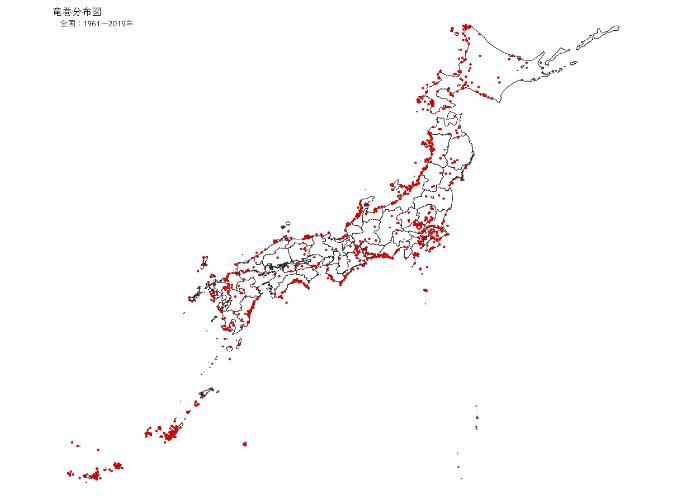竜巻分布図